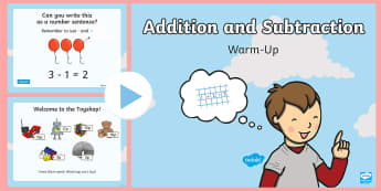 Year 1 Addition and Subtraction Warm-Up PowerPoint - maths, addition, subtraction, maths starter, calculation, KS1, Year 1, mastery, missing number, two