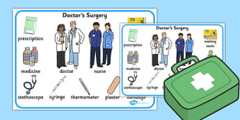 Doctors Surgery Word Mat - doctors, surgery, word mat, word, mat