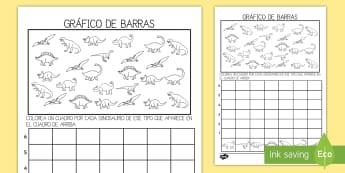 Ficha de actividad: Gráfico de barras - Dinosaurios - Dinosaurios, pre-historia, dinos, tiranosaurio, estegosaurio, triceratops, proyectos, aprendizaje ba