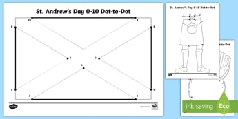 St Andrew's Day Numbers 0-10 Dot to Dot Activity Sheet - Patron Saint Of Scotland, Scotland, Counting To 10, Numbers To 10, Jesus Disciples,