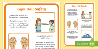 Gym Hall Safety Poster - health and safety, risk, personal space, PE, warm up, rules, expectations, reminder