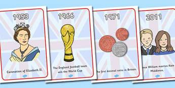 Britain Since 1948 Timeline Display Posters - Britain, since 1948, 1948, timeline, display, poster, sign, events, beatles, Queen Elizabeth, Elizabeth II important events, history