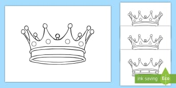 Kronen Ausmalbilder - Burg, Schloss, mittelalterlich, König, Königin, Prinzessin, Prinz