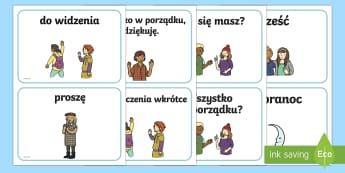 Karty A5 Podstawowe słowa i zwroty grzecznościowe - słowniczek, proszę, dziękuję, wychowanie, zachowanie, wychowawcza, terapia,Polish