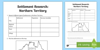 Settlement – Northern Territory Research Activity Sheet - ACHASSK069, Year 3, Darwin, information, Australian Curriculum, Geography, inquiry, lesson, natural