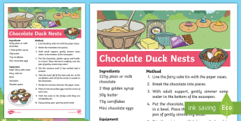 Brenda's Boring Eggs Chocolate Duck Nests Recipe - KS1, EYFS, design and Technology, Parents, home learning, story sack, cooking, ducks, ducklings, egg