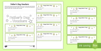 CfE Father's Day Vouchers Activity Sheet - CfE Father's Day, June 18th,Gift vouchers,Father's Day,Father's Day gift,Scottish, worksheet