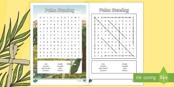 KS2 Palm Sunday Word Search - puzzle, word find, word seek, mystery word, word sleuth, independent activity, easter
