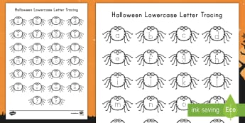 Halloween Lower Case Letter Tracing Activity Sheet - Letter Tracing, Alphabet Tracing, Alphabet, Spiders, ELA, Tracing, Literacy, worksheet