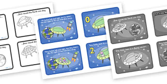 Five Little Men in a Flying Saucer Sequencing (4 per A4) - Five Little Men in a Flying Saucer, sequencing, nursery rhyme, rhyme, rhyming, nursery rhyme story, nursery rhymes, counting rhymes, counting backwards, subtraction, one less than, Five Littl