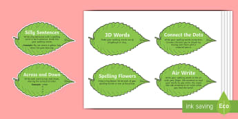 Spelling Challenges on Leaves Cut-Outs - Spelling Challenge Activity - activity, spelling activity, game, fun, challenge, spelling challenge,