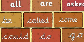 Tricky Words on Bricks - Tricky words, DfES Letters and Sounds, Letters and sounds, display, words