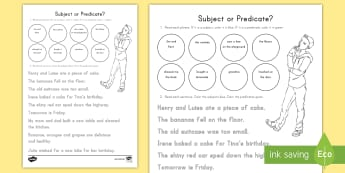 Subject or Predicate? Activity Sheet - Noun, Verb, Subject, Predicate, Complete Sentences, Sentence, Language, English, worksheet