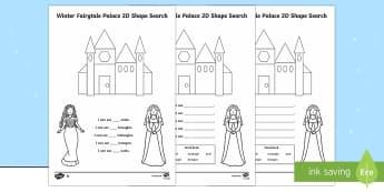 Winter Fairytale Palace 2D Shape Search Activity