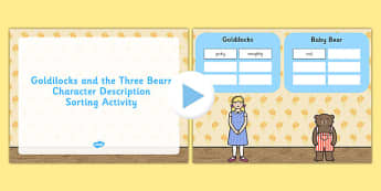 Goldilocks Three Bears Character Description Sorting PowerPoint