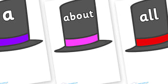 100 High Frequency Words on Top Hats - High frequency words, hfw, DfES Letters and Sounds, Letters and Sounds, display words