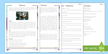 Pythons Differentiated Reading Comprehension Activity - Nonfiction, Python, Snakes, reptiles, informational text, Pythons, Jungle