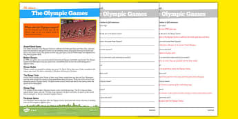 Olympic Games Differentiated Comprehension Pack - Olympics, Modern, Ancient Greek, Olympic Rings, Olympic Torch