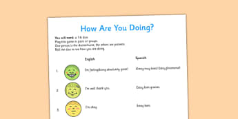 A1 Juego bilingüe - How are you doing? en inglés - inglés, how are you