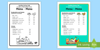 Healthy Eating Cafe Role-Play Menu English/French - healthy eating cafe, role play, menu, healthy eating, cafe,role play cafe, healthy eating