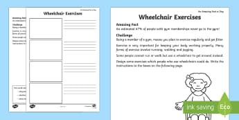 Wheelchair Exercises Activity Sheet - Amazing Fact Of The Day, activity sheets, powerpoint, starter, morning activity, February, wheelchai