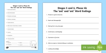 Northern Ireland Linguistic Phonics Stage 5 and 6, Phase 4b 'ant' and 'ent' Word Endings Activity Sheet - NI, Linguistic Phonics, Stage 5, Stage 6, Phase 4b, Northern Ireland, 'ant', 'ent', word endin