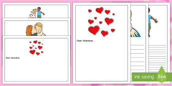 Dear Valentine Letter Writing Frames - Valentine, valentines, Valentine's Day, 14th Feb, writing frames, letter frames