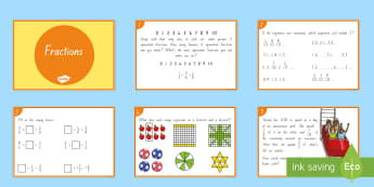 Fractions Challenge Cards - maths, numeracy, fractions, sharing, dividing, word problems, numerator, denominator