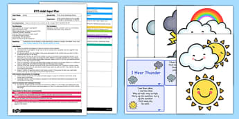 Pitter, Patter Raindrops Rhyme EYFS Adult Input Plan - EYFS, Early Years planning, adult led, spring, C&L, Communication and Language, rhyme, song