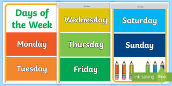 Days of the Week Display Banner - Days of the Week Display Banner - banners, display, days of the week, english, abnner, display abnne
