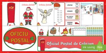 Joc de rol: Oficiul Poștal de Crăciun Pachet cu resurse - joc de rol, scriere, activități de Crăciun, comunicare, jocuri, magia Crăciunului,Romanian