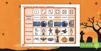 Ficha de tirar el dado y escribir cuentos de Halloween
