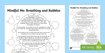 Mindful Me: Breathing and Bubbles Activity - Mindfulness, coping strategies, positive thinking, calming down