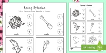 Spring Syllables Activity Sheet - Spring, Syllables, Syllable Clapping, ELA, Common Core, worksheet