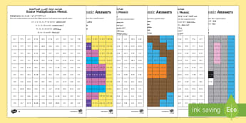 Easter Multiplication Mosaics Differentiated Activity Sheets Arabic/English - Year 3 times tables, Year 4 times tables, LKS2 times tables, Y3 times tables, Yr 4 times tables, LKS