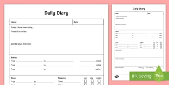 Daily Care Sheet for Bottle-Fed Baby Record - Daily sheet, daily diary, daily record, care sheet, daily communication, daily sheet, baby diary