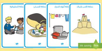 ملصقات عرض لتمييز المناطق المختلفة في المدرسة - وسائل عرض، ملصقات عرض، رياض الأطفال