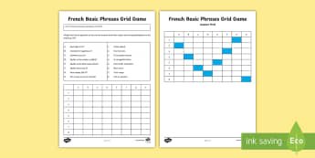 Basic Phrases Grid Game French - French Games, French questions, French basic phrases, French phrases activity, French questions and