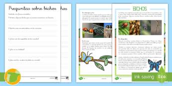 Comprensión lector de atención a la diversidad: Bichos - comprensión lectora, bichos, preguntas, lectura