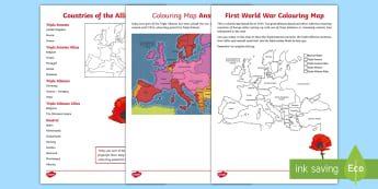 The First World War Activity Sheets - Second World War Colouring Map - world war two, ww2, world war II, world war 2 worksheet, world war
