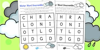 Winter Word Unscramble - seasons, weather, literacy, word games