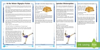 KS2 At the Winter Olympics Differentiated Story English/German - Events, KS2, ice, skating, EAL, German, English-German,,German-translation