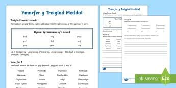 Ymarfer y Treiglad Meddal ar ôl  'i' ac 'o' Taflen Ysgrifennu - tregilad meddal, treiglo, cywirdeb iaith, Cymraeg, Welsh