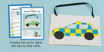 Woven Paper Police Car Craft Instructions - woven, paper, craft