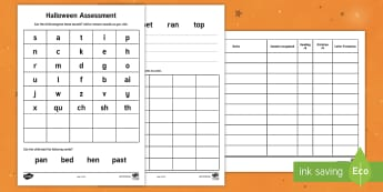 Halloween Junior Infants Literacy Assessment Pack - Back to School Junior Infants, halloween, assessment, junior, sounds, dictation, text