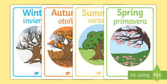 Four Seasons Display Posters English/Spanish - season, autumn, winter, spring, summer, fall, seasons activity, seasons display, four seasons, found