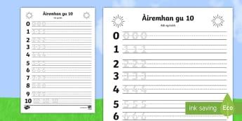 Sgrìobhadh Àireamhan gu 10 Duilleag-Obrach   - cfe, first level, maths, addition, addition to 10, a' chiad Ire, aireamhan, cur-ris gu 10, activity