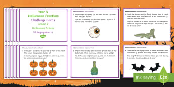 Year 4 Halloween Fraction Challenge Cards English/Afrikaans - October, festival, autumn, celebration, challenge, math, EAL