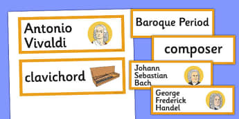Baroque Period Music Word Cards - baroque, period, music, cards