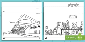 Up, Up and Away! Colouring Pages - ROI, Aistear, Exploring My World, Up up Away Story, Airport, Colouring Pages, Activity,Irish